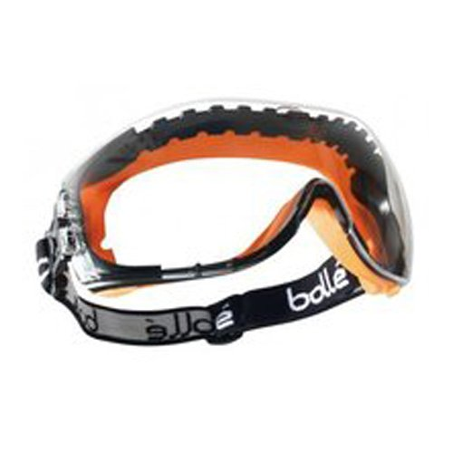 Bollé PILOPSI Pilot Spectacles Black and Orange Polypropylene and TPV Frame, Ventilated Clear PC, Anti-Scratch and Anti-Fog Lens Bollé Protection 40380438