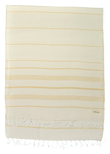 Gold Winter Rectangular Pool Cover - Bersuse 100% Cotton - Anatolia XL Throw Blanket Turkish Towel Pestemal - Beach Fouta Peshtemal - Multipurpose Bed or Couch Throw, Table Cover or Picnic Mat - 61X82 Inches, Natural Gold (Set of 3)