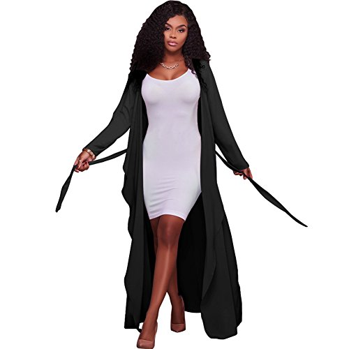Women's Long Sleeve Cover Up Thin Lightweight Waterfall Belted Open Long Loose Chiffon Maxi Cardigan Trench Coat Black XXL ()