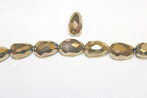 Excellent Quality - Faceted Nuggets in Stone - Glass - Quartz - 3 Sizes - 8 x 12, 10 x 16, 16 x 20 mm - Good Collection of Colors, - 30 Beads per Pack (10x16-FNGT, BRNZ (Metallic Bronze))