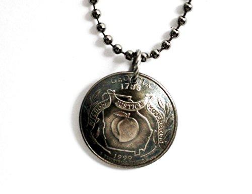 Georgia Peach State Quarter Domed Coin Necklace 1999 Commemorative Pendant