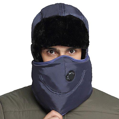Hombres Winter Warm Bomber Hat Máscara A Prueba De Viento Winter Ear Flap Outdoor Sports Snow Máscara A Prueba De Viento Classic Navy