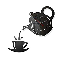 HOYOYO DIY Wall Acrylic Clock, Modern Acrylic Mirror Surface 3D Luxury Big Size Wall Stickers Decor Clocks Numbers Stickers for Home Office Decorations Gift, Teapot Teacup Clock