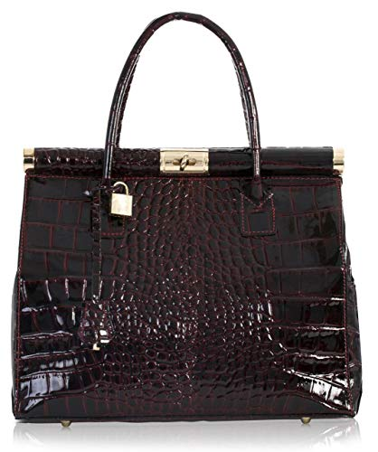 LIATALIA - Womens Genuine Italian Leather Doctors Satchel Top Handle Bag with Shoulder Strap - LAURA [UB Gloss Croc - Burgundy ]