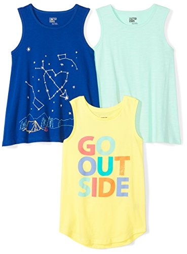 (Amazon Brand - Spotted Zebra Girls' Big Kid 3-Pack Sleeveless Tank Tops, Outside, Large (10))