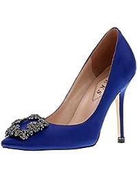 Women's Satin Full Sole Diamonds Pointy Closed Toe High Heel Pumps