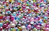 1000 Pcs Pearl Finish Flat Back Glue on Half Dome Beads Cabochons Assorted Sizes 4mm-8mm