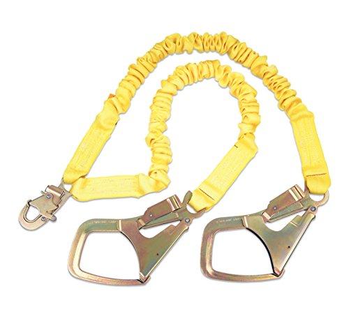 Shockwave2 6' Shock Absorbing Lanyard - 3M DBI-SALA,ShockWave 2 1244448 Shock Absorbing Lanyard, 6' 100 Percent Tie-Off with Elastic Web and Snap Hook At Center, Saflok-Max Steel Rebar Hooks At Leg Ends, Yellow