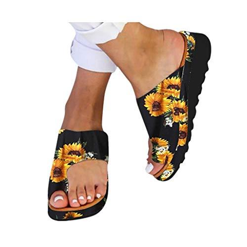 (2019 New Women Comfy Platform Toe Ring Wedge Sandals Shoes Summer Beach Travel Shoes Comfortable Flip Flop Shoes)