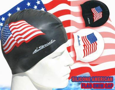 ican Flag Silicone Swim Cap - White (Silicone Flag)