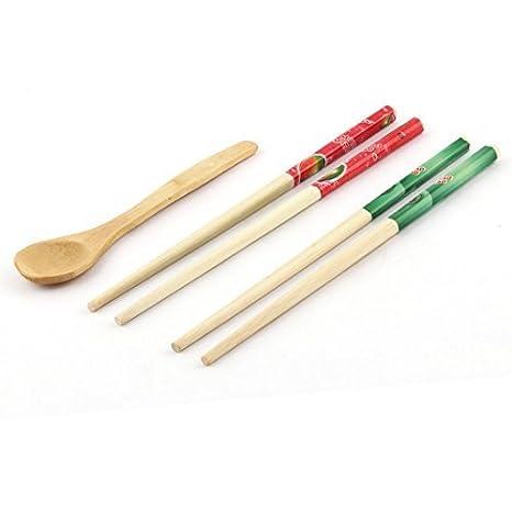 DealMux vajilla de bambú de frutas Imprimir chinos palillos cuchara estilo Cubiertos 3 en 1: Amazon.es: Hogar