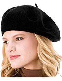 86fec408201 Womens Solid Color Beret 100% Wool French Beanie Cap Hat