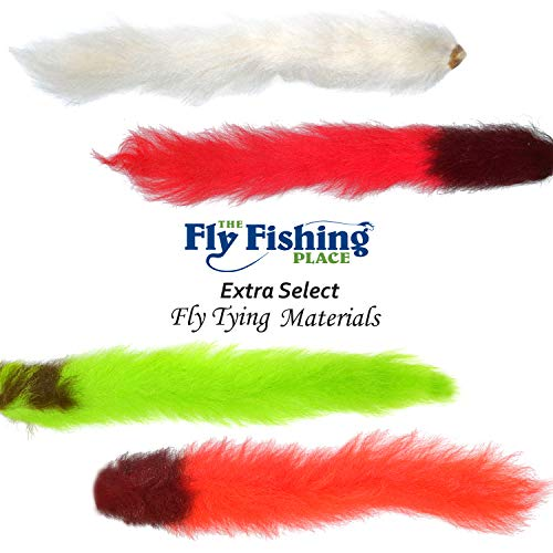 The Fly Fishing Place Fly Tying Materials - Select Grade Calf Tails - Kiptails - Master Pack - 4 Fluorescent Colors - White Fire Orange Chartreuse Red