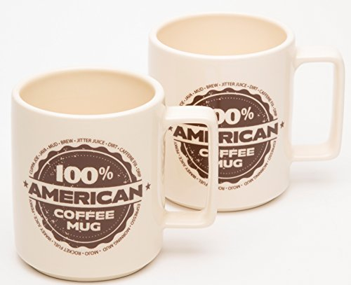 American Mug Pottery Ceramic Square Handle Coffee Mug, Made in USA, Ivory (17 oz - Pack of 2)