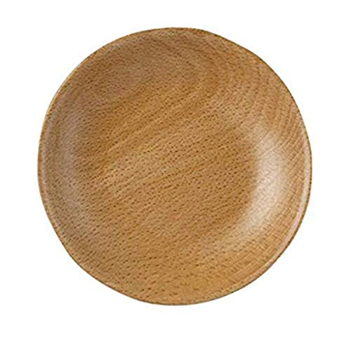 (Transser Wooden Serving Tray Serving Plate, Wood Round Serving Tray Fruit Dessert Cake Snack Candy Water Platter Wooden Bowls)