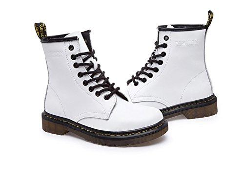 ohne Markenname Unisex - Erwachsene Lace up Schuhe Plateau Stifeletten Halbschaft Stiefel Gr.35-43 Weiß Kunstfell