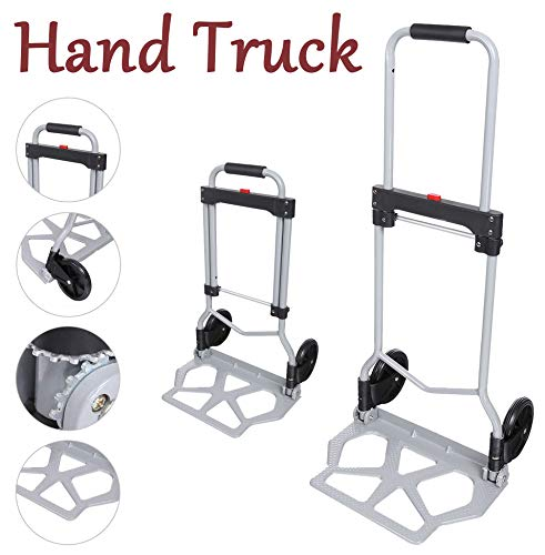 (220 lb Portable Aluminum Folding Hand Truck,Heavy Duty Dolly Luggage Shopping Cart with 2 Wheels,Industrial/Travel/Daily[US Stock])