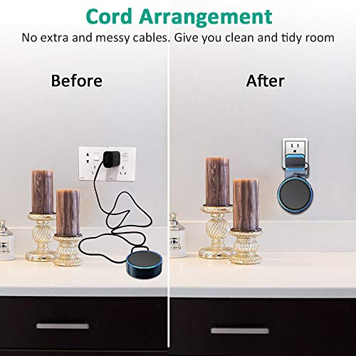 Bovon Outlet Wall Mount Hanger Holder Stand for Dot 2nd Generation, Best Space-Saving Dot Accessories for Your Smart Home Speaker without Mess Wires or Screws (Short Charging Cable Included) (black)