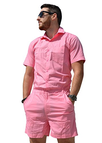 Zesties Male Romper (Large, Coral Chambray)