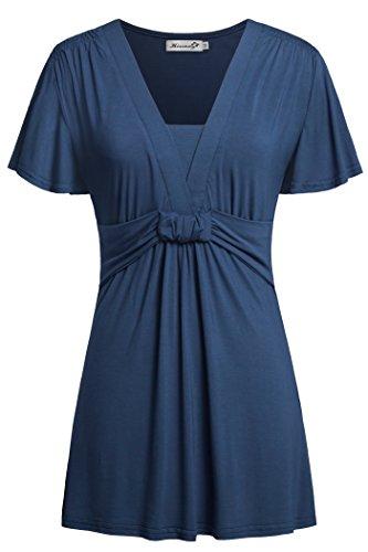 Womens T Shirts,Kissmay Dressy Ruffle Short Sleeve Twist Front Loose Fit Blue XL
