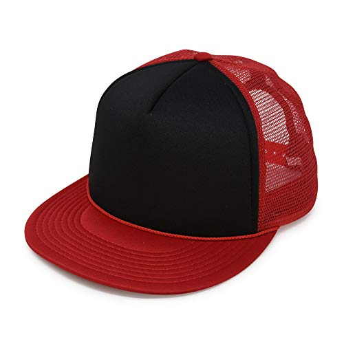 DALIX Flat Billed Trucker Cap with Mesh Back in Red-Black