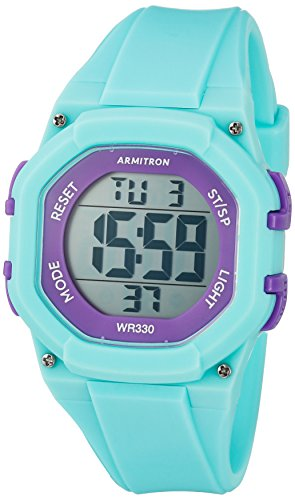 Armitron Sport Women's 45/7080TEL Purple Accented Digital Chronograph Teal Resin Strap Watch