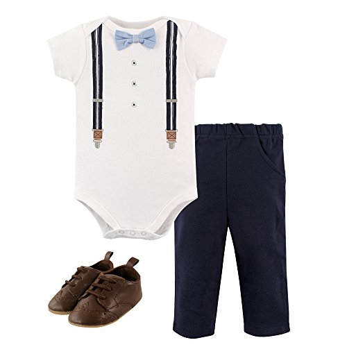Hudson Baby Bodysuit, Bottom and Shoe Set, Suspenders, 12-18 Months