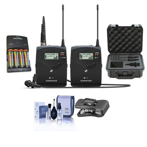 (Sennheiser ew 112 P G4 Camera Lavalier Set, Bodypack Transmitter, ME 2 Lav Omni Mic, A: 516-558 MHz - Bundle with 4 AA NiMH 2900mAh Batteries/Charger, SKB iSeries Waterproof Case, AT Clothing Clip)