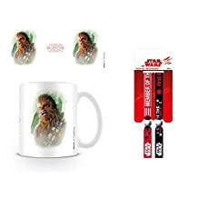 Set: Star Wars, Episode VIII, The Last Jedi Chewacca Brushstroke Photo Coffee Mug (4x3 inches) And 1 Star Wars, wristband for collectors (4x1 inches)