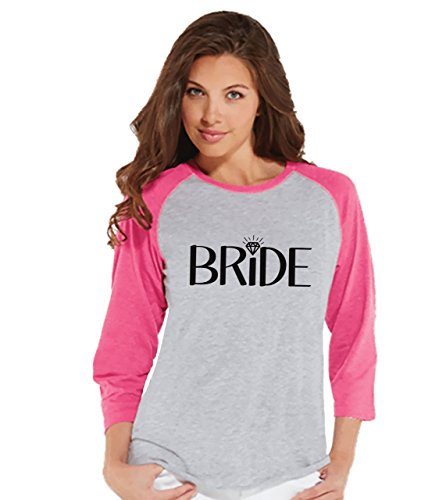 7 ate 9 Apparel Women's Bride Baseball Tee Small Pink