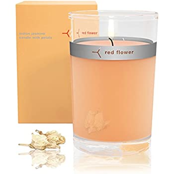 Red Flower Indian Jasmine Petal Topped Candle-6 oz.