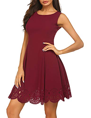 - Sherosa Womens Summer Scalloped Hem Fit and Flare Dress Knee Length Party Dress (S, Wine Red)