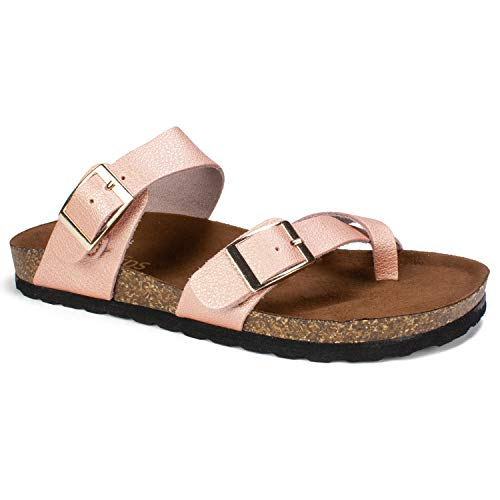 WHITE MOUNTAIN Women's Gracie Flat Sandal, Rose Gold/Leather, 6 M US