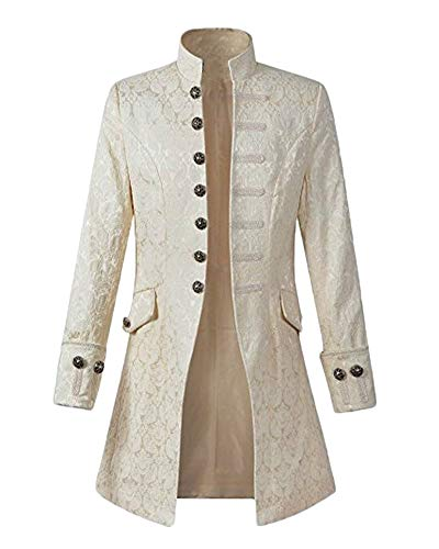 Vintage Cappotto Halloween Steampunk Uomo Lunga Manica Costume Giacca Runyue Bianco Vittoriano tFxX7qP