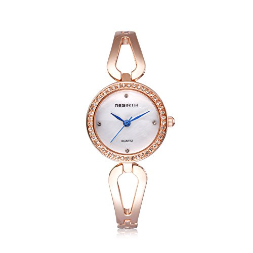 Watch Links Crystal Gold Color (Bosymart Women's Crystal Analog Quartz Dress Watch Rose Gold Hollow Bracelet Watch)