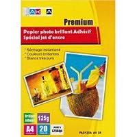 pack de 20 feuilles Papier Photo Brillant Autocollant Adhésif A4 pour imprimante à jet d'encre