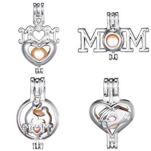 8pcs Mom Heart Mother Gift Love Stainless Steel Tones Alloy Bead Cage Pendant Wish Lucky Lava Pearls Stones Perfume Essential Oils Create a Scent Diffusing Locket Necklace Pendant Charms