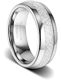 8mm Wedding Band Polished Imitated Meteorite Inlay...