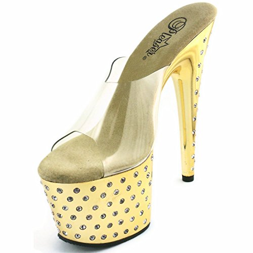 (Women's 7 Inch Rhinestone Studded Platform Slide (Clear/Gold/Chrome;6))