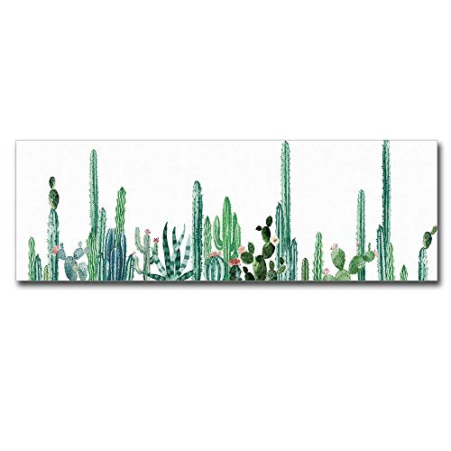 """Cactus Poster Wall Art Green Plant Mural Decor Abstract Botanical Painting Framed Fern Artwork for Living Room Home Decorations 16""""x 48"""""""