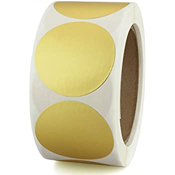 """2"""" Metallic Gold Color Coding Dot Sticker Labels   Permanent Adhesive, Write On Surface — 500/Roll"""