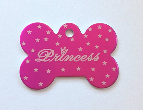 Princess Pet Tag (Pink Crown Princess Star Dog Pet Charm Bone ID Tag - Super Cute!)