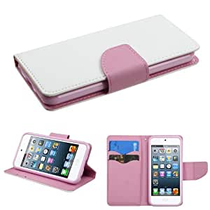 [ARENA] WHITE PINK DUAL TONE FLIP COVER WALLET STAND POUCH CASE for APPLE IPOD TOUCH 5TH GEN
