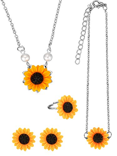 (5 Pieces Totally Sunflower Shape Necklace Drop Petal Pendant Necklace with Faux Pearl, Sunflower Bracelet Earrings Ring for Women Jewelry Accessories (Style Set 1, Silver))