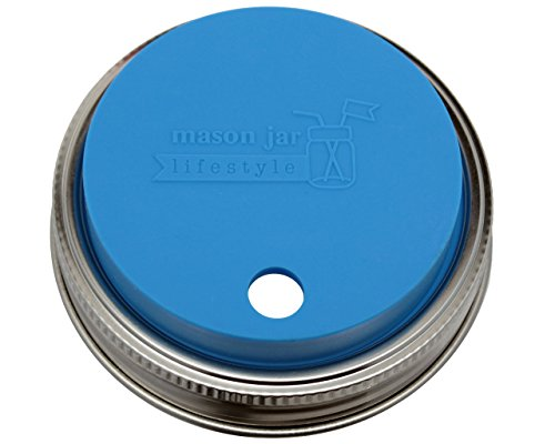 MJL Silicone Straw Hole Tumbler and Fermentation Lid with Rust Proof Band for Mason Jars (2 Pack, Bright Blue, Wide Mouth)