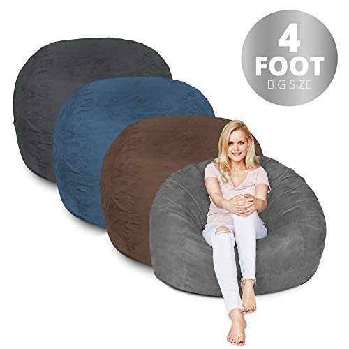 - Bean Bag Chair | 4 Foot & Brown | Microsuede Cover Machine Washable Big Size Sofa and Giant Lounger Furniture for Kids Teens and Adults