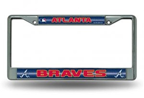 Rico MLB Atlanta Braves Bling License Plate Frame, Chrome, 12 x 6-Inch