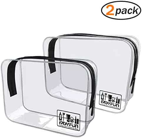 Easyfun TSA Approved Travel Toiletry Bag Travel Accessories Clear Quart Size Toiletries Bags