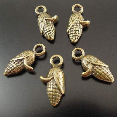 FidgetFidget Pendant Charms for Antiqued Bronze Vintage Alloy Corn Pattern 124pcs