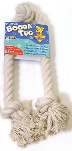 Three Knot Rope Bone Dog Toy in White Size: X-Large